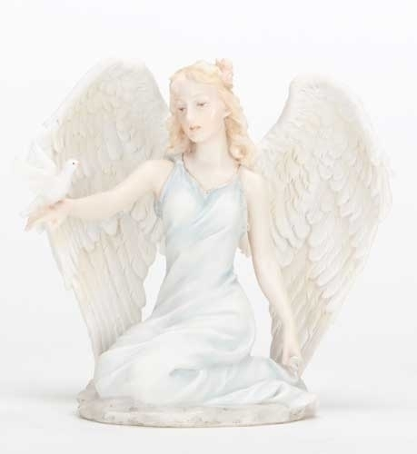 "5"" Kneeling Angel with Dove Statue statue, colored statue, resin statue, home decor, church decor, figurine,angel, dove, kneeling angel,43043"