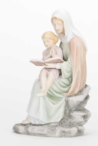 """6"""" St. Anne Statue statue, colored statue, resin statue, home decor, church decor, figurine,st. anne statue, st. anne and child, 40395"""
