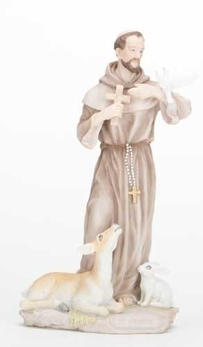 "8 3/4"" St. Francis Statue statue, colored statue, resin statue, home decor, church decor, figurine, st francis, st francis and animals,40356"