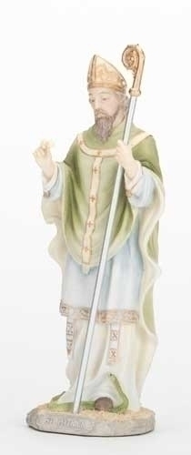 "8 3/4"" St. Patrick Statue statue, colored statue, resin statue, home decor, church decor, figurine,st. patrick, irish statue, 40385"