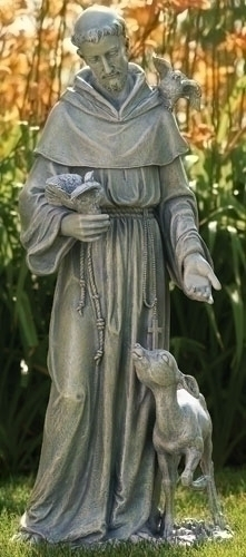 "36"" St. Francis with Deer Statue St francis, statue, patron saint statue, yard statue, lawn statue, deer, 42345, joseph studio"