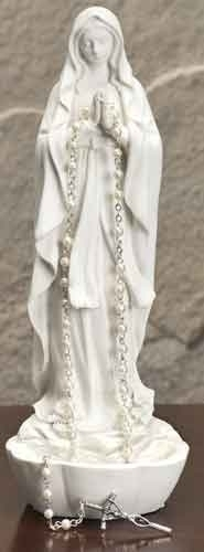 Our Lady of Lourdes Rosary Holder 60375,our lady of lourdes, statue, figure, mary statue, home decor, church d?cor, rosary holder, rosary statue