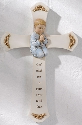 Boy Praying Wall Cross wall cross, boy cross, baptism cross, baptism gift, new baby gift, ceramic , blue, 62158