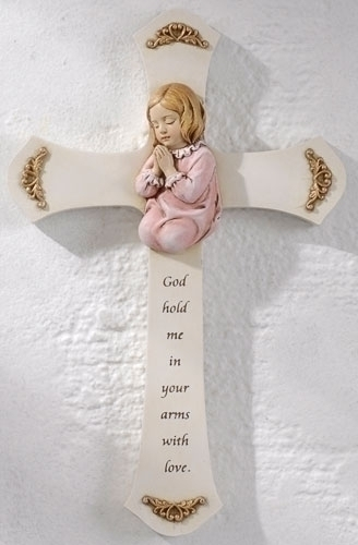Baby Girl Wall Cross wall cross, girl cross, baptism cross, baptism gift, new baby gift, ceramic , pink, 62159