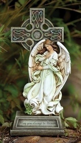 Angel Cross Statue irish gift, irish statue, irish stone,irish angel, garden angel, garden statue, lawn statue, joseph studio, celtic angel, 62408