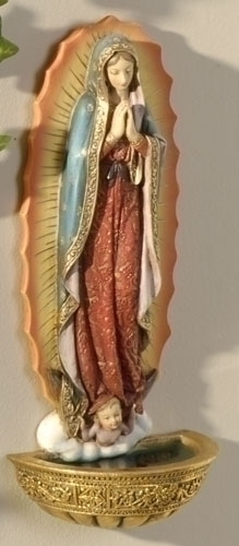 Our Lady of Guadalupe Holy Water Font holy water font, our lady of guadalupe, church goods, home decor, chapel goods. 62821