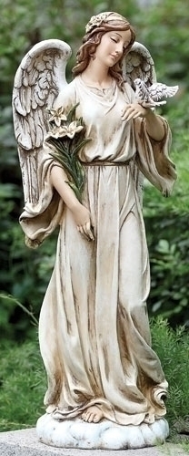 Angel with Dove Statue angel,  prayer angel, angel gift, memorial angel, comfort angel. angel statue, angel figure, 63653, healing angel, garden angel,joseph studio, standing angel, angel with dove, lawn decor,