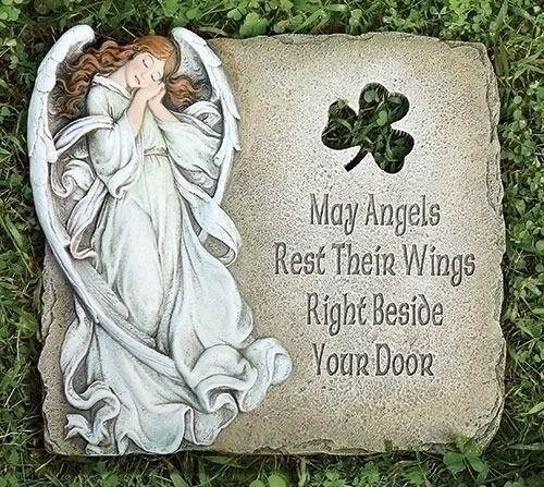 Angel & Shamrock Garden Stone