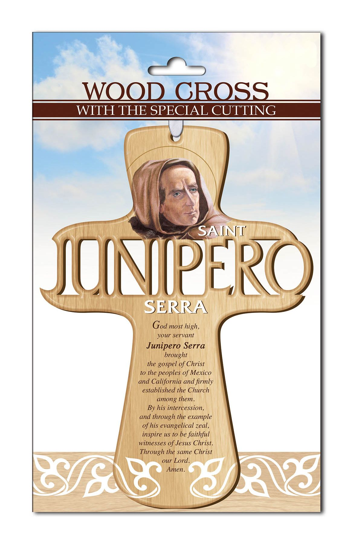 Saint Junipero Serra Carved Wall Cross mexican saint, junipero serra, wall cross, prayer cross, saint wall cross, new saint, carved cross,st. junipero, st. junipero serra