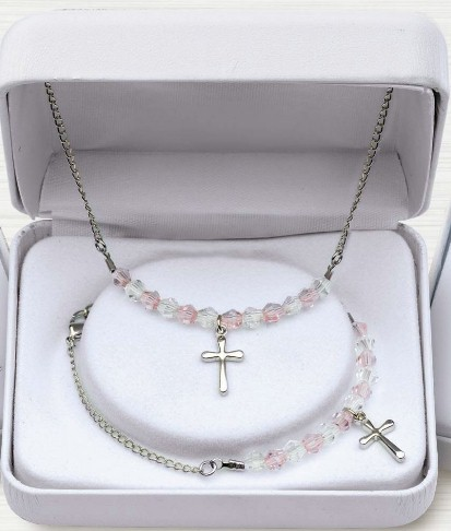 Pink Crystal and Rhodium Cross Bracelet and Necklace Set silver, necklace, first communion necklace, necklace, sacramental gift, crucifix necklace, jewelry, special occasion, Mm2874