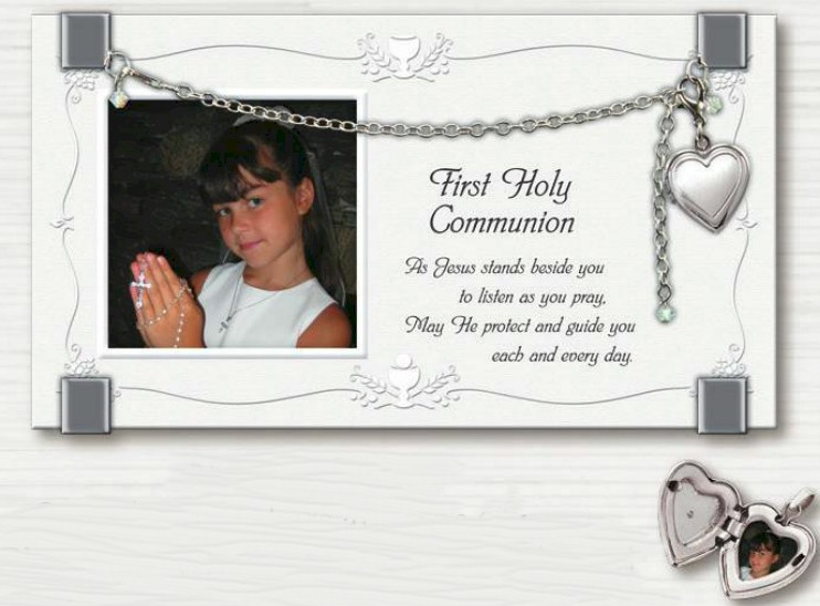 First Communion Frame with Locket first communion frame, table frame, sacramental gift, picture frame, holy eurcharist gift, N2174FC, silver, necklace, first communion necklace,  necklace, sacramental gift, crucifix necklace, jewelry, special occasion
