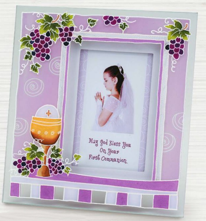 First Communion Pink Glass Frame first communion frame, table frame, sacramental gift, picture frame, holy eurcharist gift, N2149G
