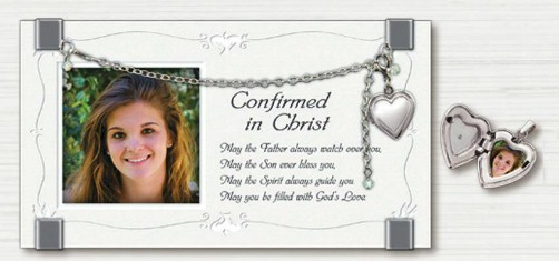Confirmation Frame with Locket confirmation frame, wood frame, confirmation gift, holy spirit, sacramental gift, N2174CC, locket, necklace,