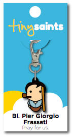 Blessed Pier Giorgio Frassati tiny saints, keychains, rubber keychains, backpack clips, clips, first communion gift, girl gift, boy gift, patron saint gift,