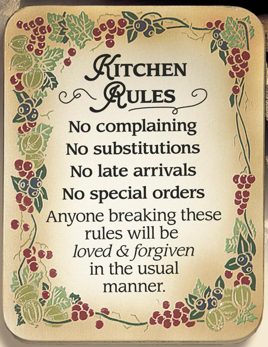 Kitchen Rules Wood Plaque plaques, wood plaques, embossed, inspirational plaques, home decor, wall decor, desk decor, 4120