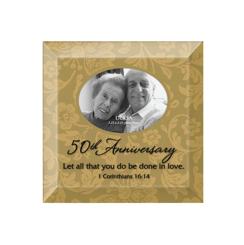 50th Anniversary Glass Photo Frame framed picture, inspirational message, home decor, wall decor, framed art, glass, 7126