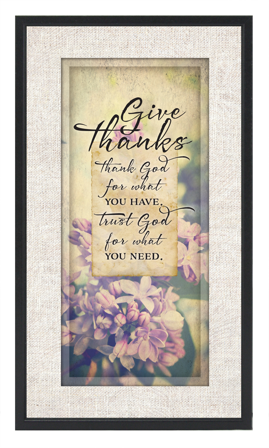 Give Thanks Plaque framed picture, inspirational message, home decor, wall decor, framed art, words of grace, 8425