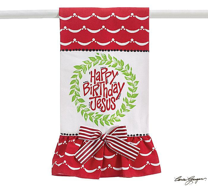 Happy Birthday Jesus Tea Towel cmas15g, towel, hand towel, home decor, housewarming gift, message towel, shower gift, christmas towel, happy birthday jesus, 9725841
