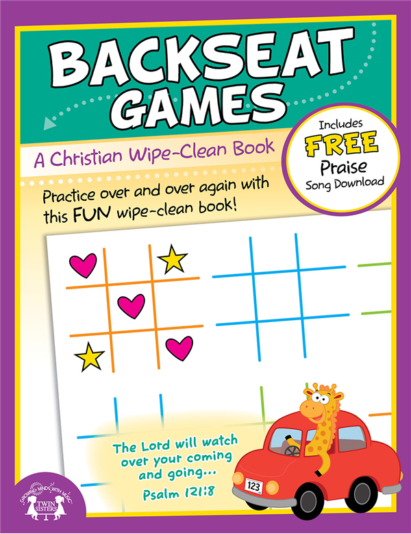 Backseat Games Christian Wipe Clean Workbook  978-1-63058-828-1, wipe off games, activities,childrens activity book, teachers tool, travel book, travel activities, childrens gift, holiday gift, Sunday school materials, teachers material,8281