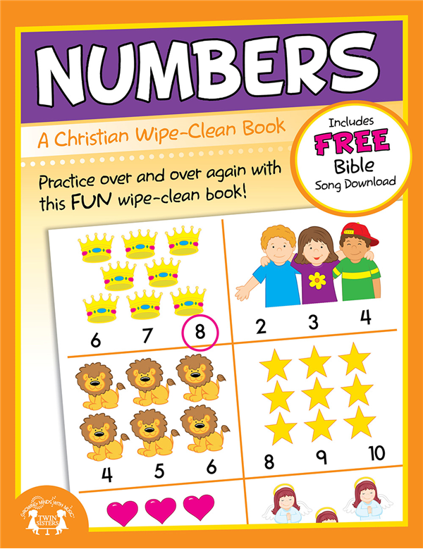 Numbers Christian Wipe-Clean Workbook 978-1-63058-831-1, wipe off games, activities,childrens activity book, teachers tool, travel book, travel activities, childrens gift, holiday gift, Sunday school materials, teachers material,8311