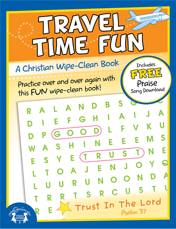 Travel Time Fun Christian Wipe Clean Workbook 978-1-63058-827-4, wipe off games, activities,childrens activity book, teachers tool, travel book, travel activities, childrens gift, holiday gift, Sunday school materials, teachers material,8274