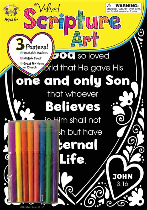 Velvet Scripture Art John 3:16 978-1-63058-819-9, art project, childrens color project, color page, color picture, velvet picture, kids project, creativity, 8199