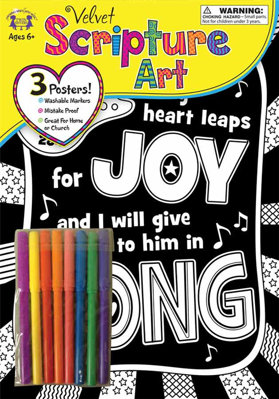 Velvet Scripture Art Psalm 28:7 978-1-63058-821-2, art project, childrens color project, color page, color picture, velvet picture, kids project, creativity, 8212