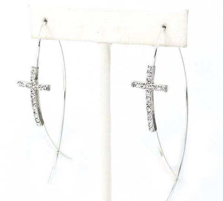 Silver Cross Hoop Earrings silver earrings, hoop earrings, cross earrings, rhinestone cross, costume jewelry, religious jewelry,L-143