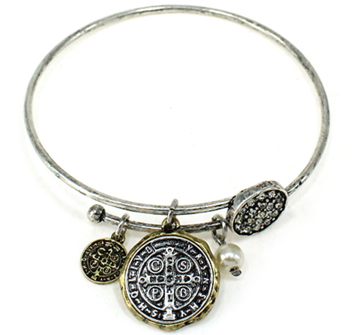 St. Benedict Coin Bracelet bracelet, jewelry, costume jewelry, silver, gold, two strand, bangle, b-699, medjugorje