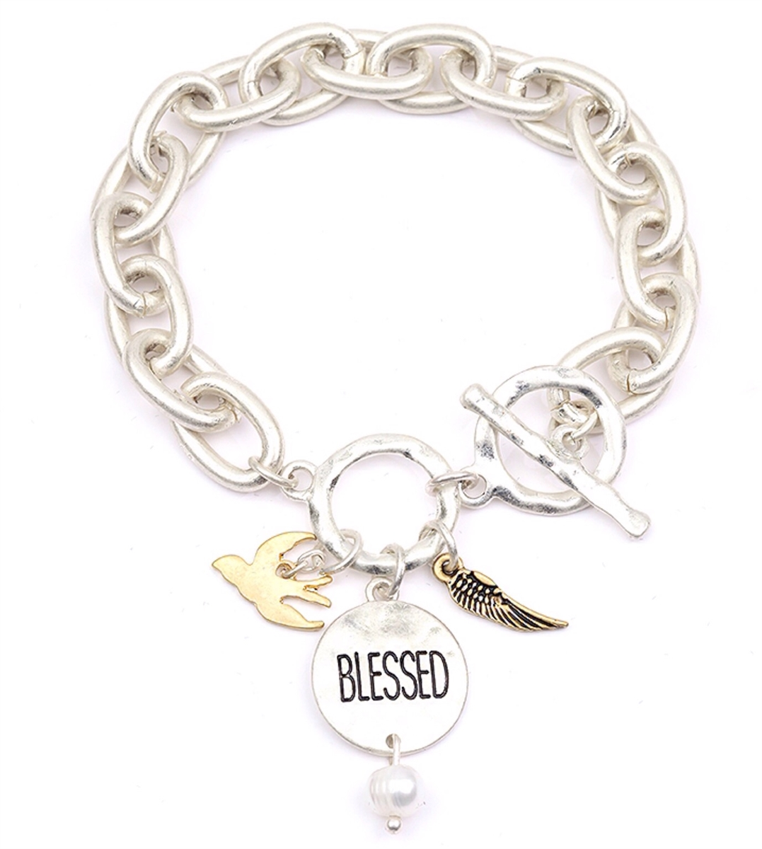 Silver Blessed Bracelet bracelet, cross bracelet, costume jewelry, toggle bracelet, l-8