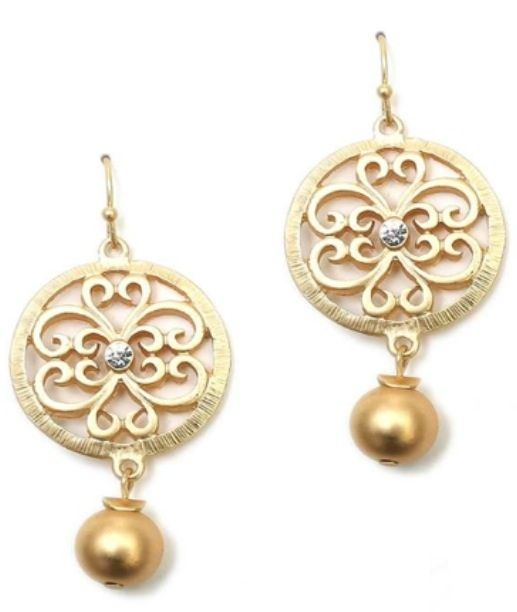 Gold Filigree Earring earrings, gold, cross, round, costume jewelry, e-319
