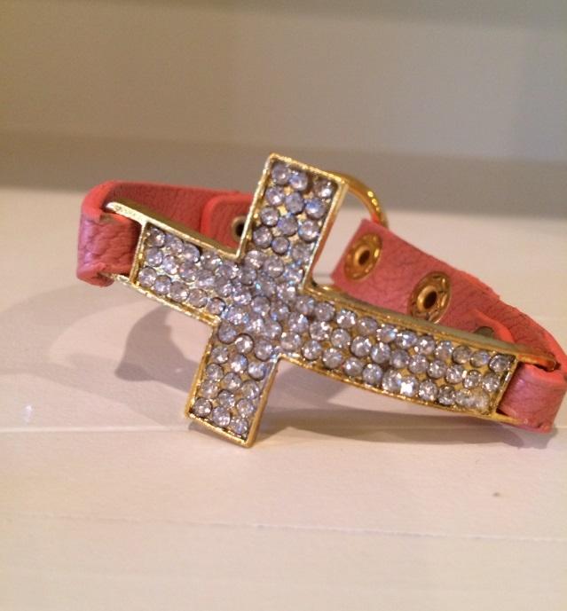 Rhinestone Cross and Leather Bracelet bracelet, cross bracelet, costume jewelry, leather, B-299