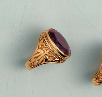 750 Bishops Ring molina, bishop ring, purple stone, gold ring, silver ring, gold plated, bishop appointments, 750, artistic silver,