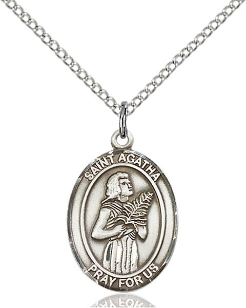 St. Agatha Pendant St. Agatha ,Nurses and Breast Cancer,Patron Saints,Patron Saints - A, sterling silver medals, gold filled medals, patron, saints, saint medal, saint pendant, saint necklace, 8003,7003,9003,7003SS,8003SS,9003SS,7003GF,8003GF,9003GF,