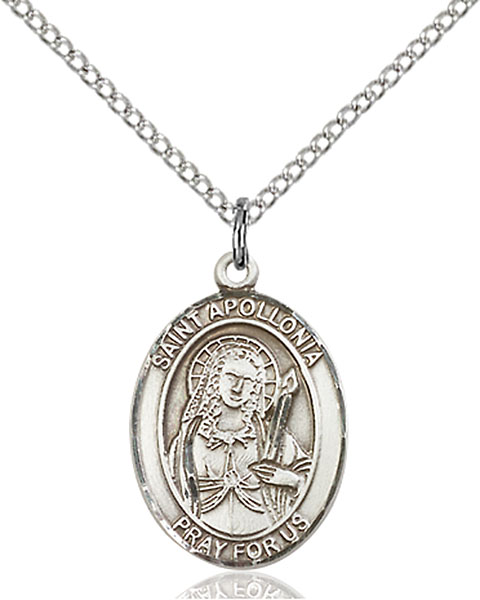 St. Apollonia Pendant St. Apollonia ,Dental Diseases,Patron Saints,Patron Saints - A, sterling silver medals, gold filled medals, patron, saints, saint medal, saint pendant, saint necklace, 8005,7005,9005,7005SS,8005SS,9005SS,7005GF,8005GF,9005GF,
