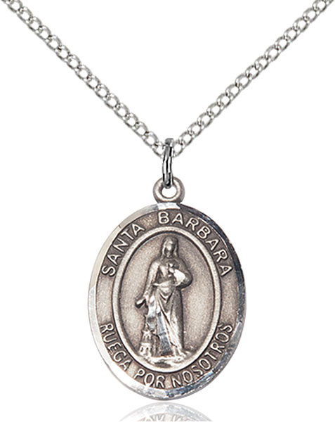Santa Barbara Pendant Santa Barbara ,Architects and Sudden Death,Patron Saints,Patron Saints - B, sterling silver medals, gold filled medals, patron, saints, saint medal, saint pendant, saint necklace, 8006, spanish medal, spanish necklace,7006 Spanish,9006 Spanish,