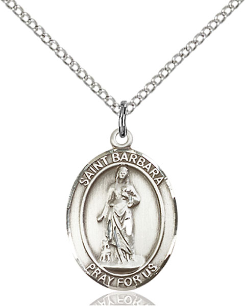 St. Barbara Pendant St. Barbara ,Architects and Sudden Death,Patron Saints,Patron Saints - B, sterling silver medals, gold filled medals, patron, saints, saint medal, saint pendant, saint necklace, 8006,7006,9006,7006SS,8006SS,9006SS,7006GF,8006GF,9006GF,