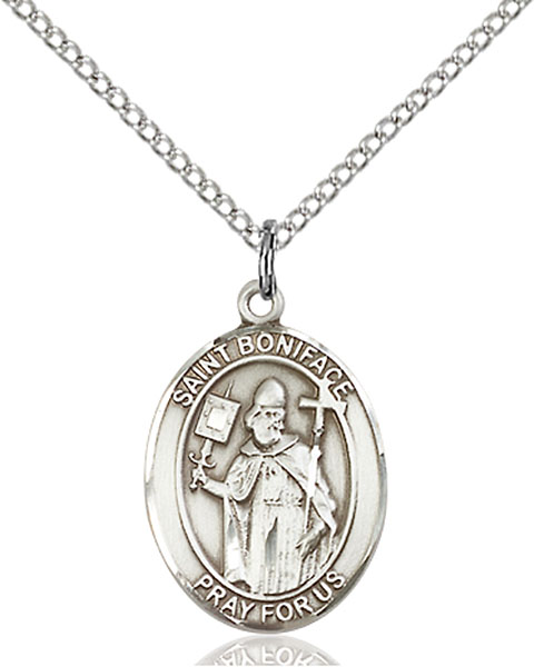 St. Boniface Pendant St. Boniface ,Tailors and Brewers,Patron Saints,Patron Saints - B, sterling silver medals, gold filled medals, patron, saints, saint medal, saint pendant, saint necklace, 8009,7009,9009,7009SS,8009SS,9009SS,7009GF,8009GF,9009GF,