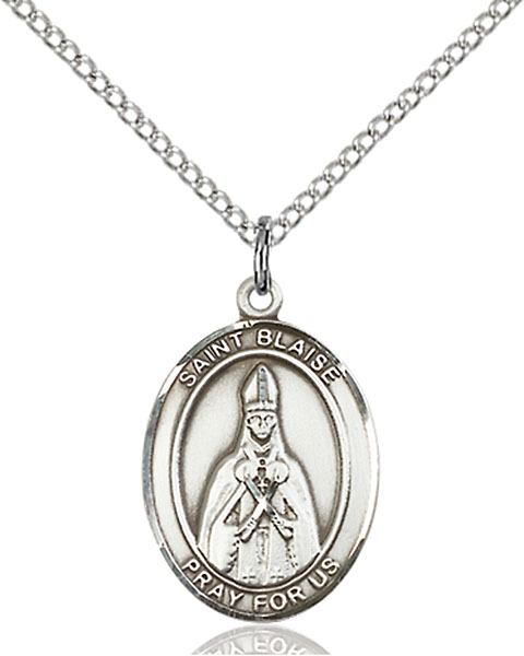 St. Blaise Pendant St. Blaise ,Throat Ailments,Patron Saints,Patron Saints - B, sterling silver medals, gold filled medals, patron, saints, saint medal, saint pendant, saint necklace, 8010,7010,9010,7010SS,8010SS,9010SS,7010GF,8010GF,9010GF,