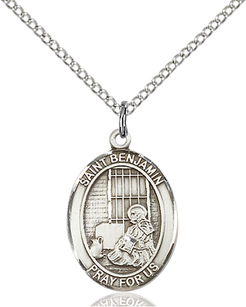 St. Benjamin Pendant St. Benjamin ,Those Named Benjamin,Patron Saints,Patron Saints - B, sterling silver medals, gold filled medals, patron, saints, saint medal, saint pendant, saint necklace, 8013,7013,9013,7013SS,8013SS,9013SS,7013GF,8013GF,9013GF,