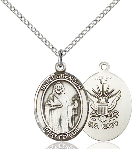 St. Brendan The Navigator/ Navy Pendant St. Brendan The Navigator/ Navy ,Sailors and Mariners,Military,Navy, sterling silver medals, gold filled medals, patron, saints, saint medal, saint pendant, saint necklace, 8018,7018 Navy,9018 Navy,