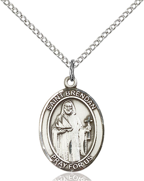 St. Brendan The Navigator Pendant St. Brendan The Navigator ,Sailors and Mariners,Patron Saints,Patron Saints - B, sterling silver medals, gold filled medals, patron, saints, saint medal, saint pendant, saint necklace, 8018,7018,9018,7018SS,8018SS,9018SS,7018GF,8018GF,9018GF,