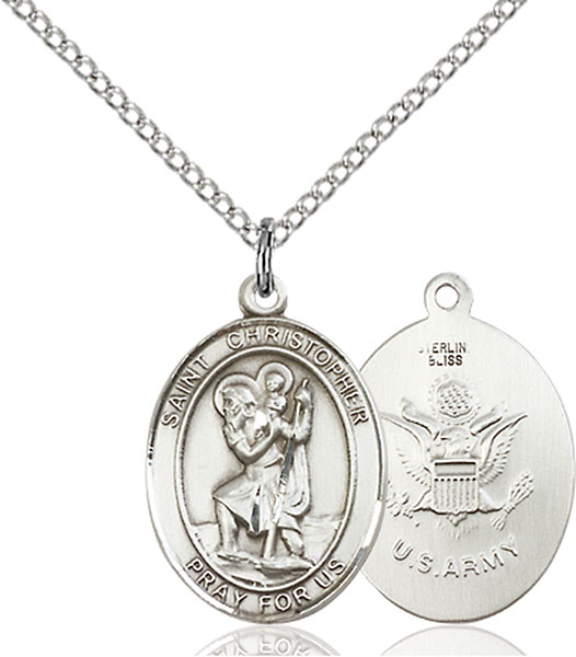 St. Christopher / Army Pendant St. Christopher / Army ,Travelers , Hazards when traveling and Motorist.,Military,Army, sterling silver medals, gold filled medals, patron, saints, saint medal, saint pendant, saint necklace, 8022,7022 Army,9022 Army,