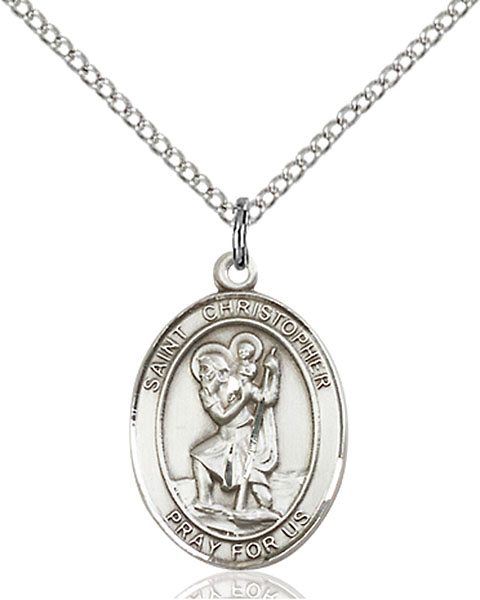 St. Christopher Pendant St. Christopher ,Travelers and Motorists,Patron Saints,Patron Saints - C, sterling silver medals, gold filled medals, patron, saints, saint medal, saint pendant, saint necklace, 8022,7022,9022,7022SS,8022SS,9022SS,7022GF,8022GF,9022GF,