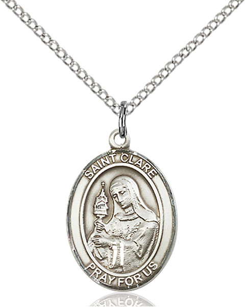 St. Clare of Assisi Pendant St. Clare Of Assisi ,Eyes and Television,Patron Saints,Patron Saints - C, sterling silver medals, gold filled medals, patron, saints, saint medal, saint pendant, saint necklace, 8028,7028,9028,7028SS,8028SS,9028SS,7028GF,8028GF,9028GF,