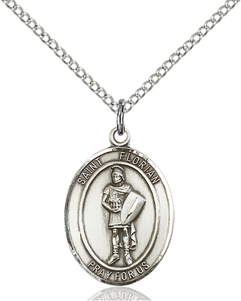 St. Florian Pendant St. Florian ,Fire Fighters,Patron Saints,Patron Saints - F, sterling silver medals, gold filled medals, patron, saints, saint medal, saint pendant, saint necklace, 8034,7034,9034,7034SS,8034SS,9034SS,7034GF,8034GF,9034GF,