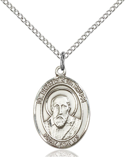 St. Francis De Sales Pendant St. Francis De Sales ,Authors and Teachers and Deafness,Patron Saints,Patron Saints - F, sterling silver medals, gold filled medals, patron, saints, saint medal, saint pendant, saint necklace, 8035,7035,9035,7035SS,8035SS,9035SS,7035GF,8035GF,9035GF,