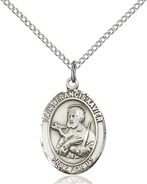 St. Francis Xavier Pendant St. Francis Xavier ,Foreign Missions,Patron Saints,Patron Saints - F, sterling silver medals, gold filled medals, patron, saints, saint medal, saint pendant, saint necklace, 8037,7037,9037,7037SS,8037SS,9037SS,7037GF,8037GF,9037GF,