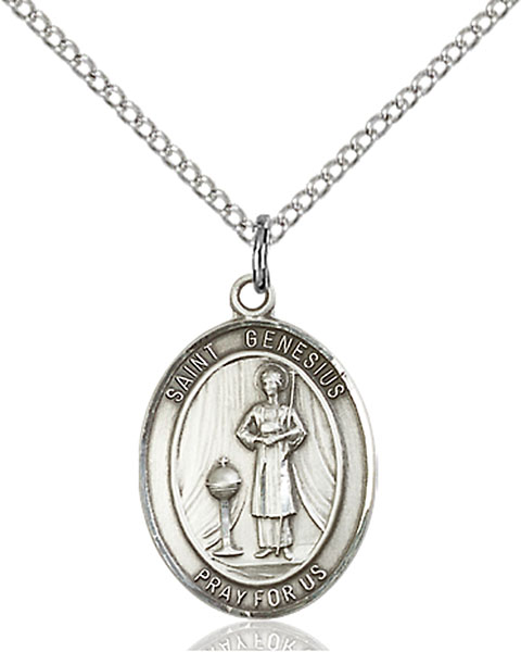 St. Genesius of Rome Pendant St. Genesius Of Rome ,Actors and Comedians,Patron Saints,Patron Saints - G, sterling silver medals, gold filled medals, patron, saints, saint medal, saint pendant, saint necklace, 8038,7038,9038,7038SS,8038SS,9038SS,7038GF,8038GF,9038GF,