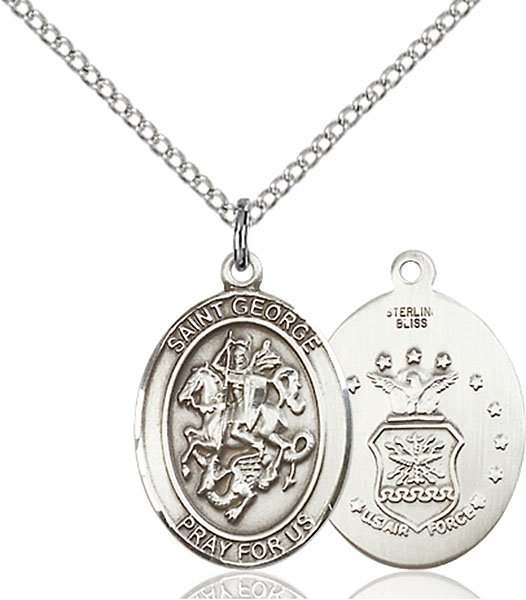St. George / Air Force Pendant St. George / Air Force ,Boy Scouts and Soldiers,Military,Air Force, sterling silver medals, gold filled medals, patron, saints, saint medal, saint pendant, saint necklace, 8040,7040 Air Force,9040 Air Force,